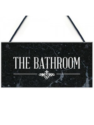The Bathroom Hanging Sign Bathroom Toilet Decor Marble Theme