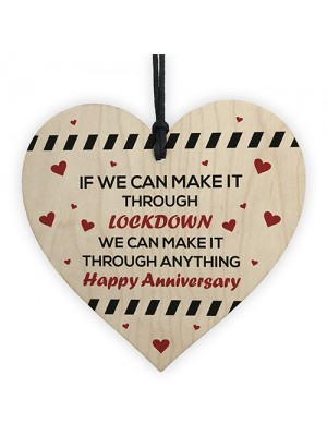 Anniversary Wood Heart Gift Funny Post Lockdown Gift For Him