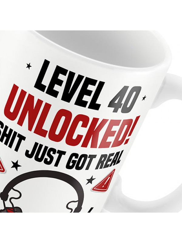 40th Birthday Mug Gamer Level Unlocked Gift For Him Her Men