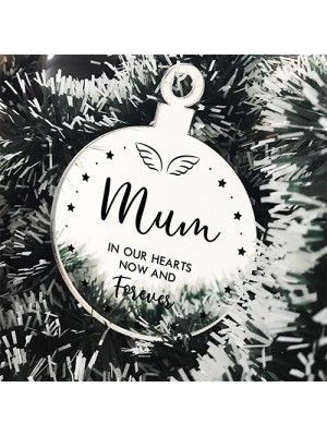 Mum Memorial Gift Mirror Acrylic Christmas Tree Decoration