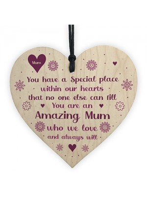 Amazing Mum Gifts For Birthday Wooden Heart Sign Thank You