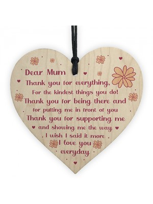 Dear Mum Gift For Mothers Day Birthday Wooden Heart Mum Poem