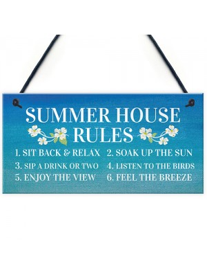 Summer House Rules Hanging Garden Shed Sign Home Decor Sign