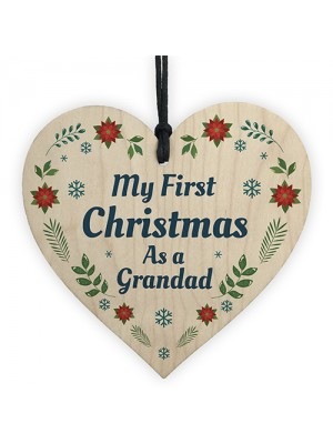 1st Christmas As A Grandad Bauble Wood Heart Tree Decoration
