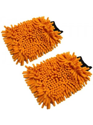 Set Of 2 Car Valeting Microfibre Cleaning Wash Mitts Glove