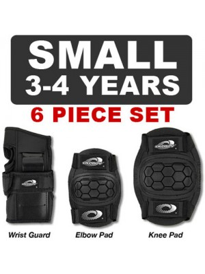 6 Piece Childs Black Skate Pads - For Skating, Cycling  - Small