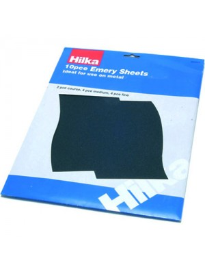 10 Pack Of Emery Cloth Sheets - Medium, Fine & Course