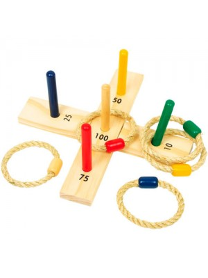 Wooden Toy - Rope Throwing Hoop La Quoits Game Toy Set
