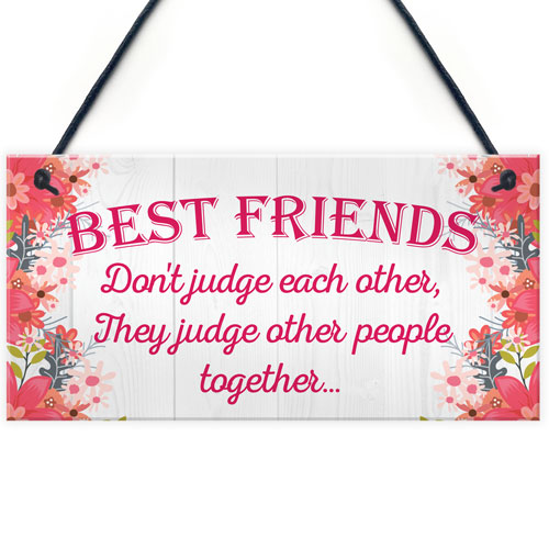 best friends judge others friendship love gift hanging plaque funny