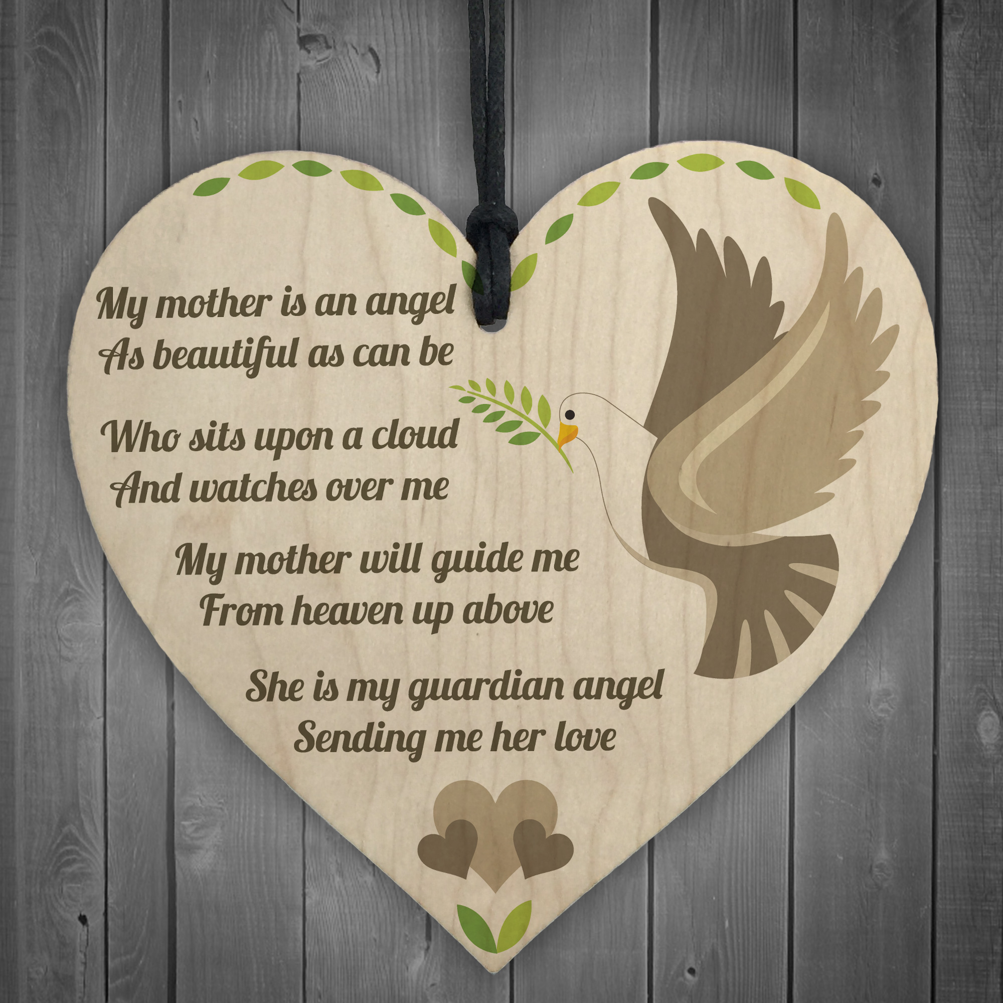 Mum Guardian Angel Wood Love Heart Sign Memorial Mothers Day Gift Grave Plaque Ebay