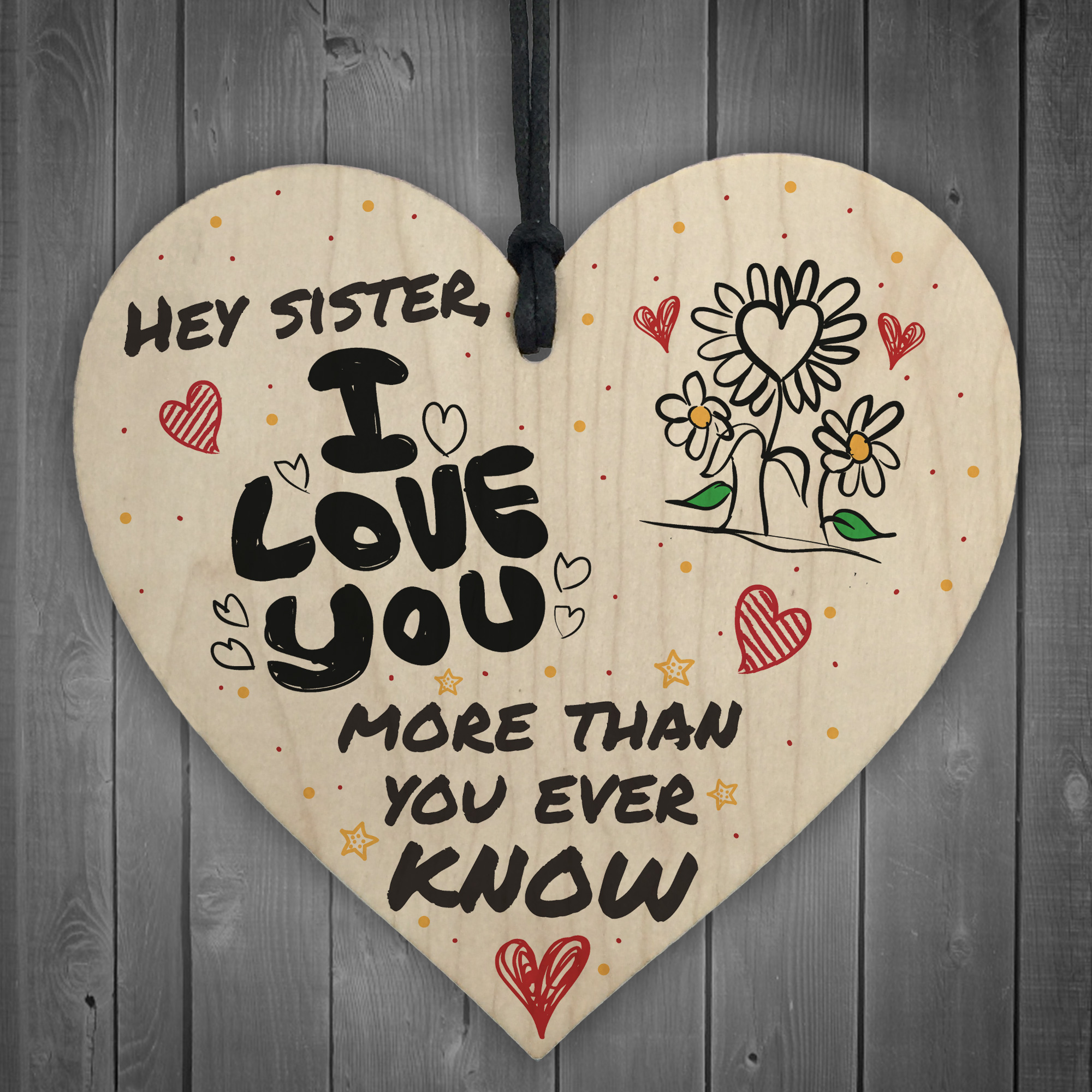 MY SISTER I Love You Big Little Sis Wooden Heart Plaque Love Sign