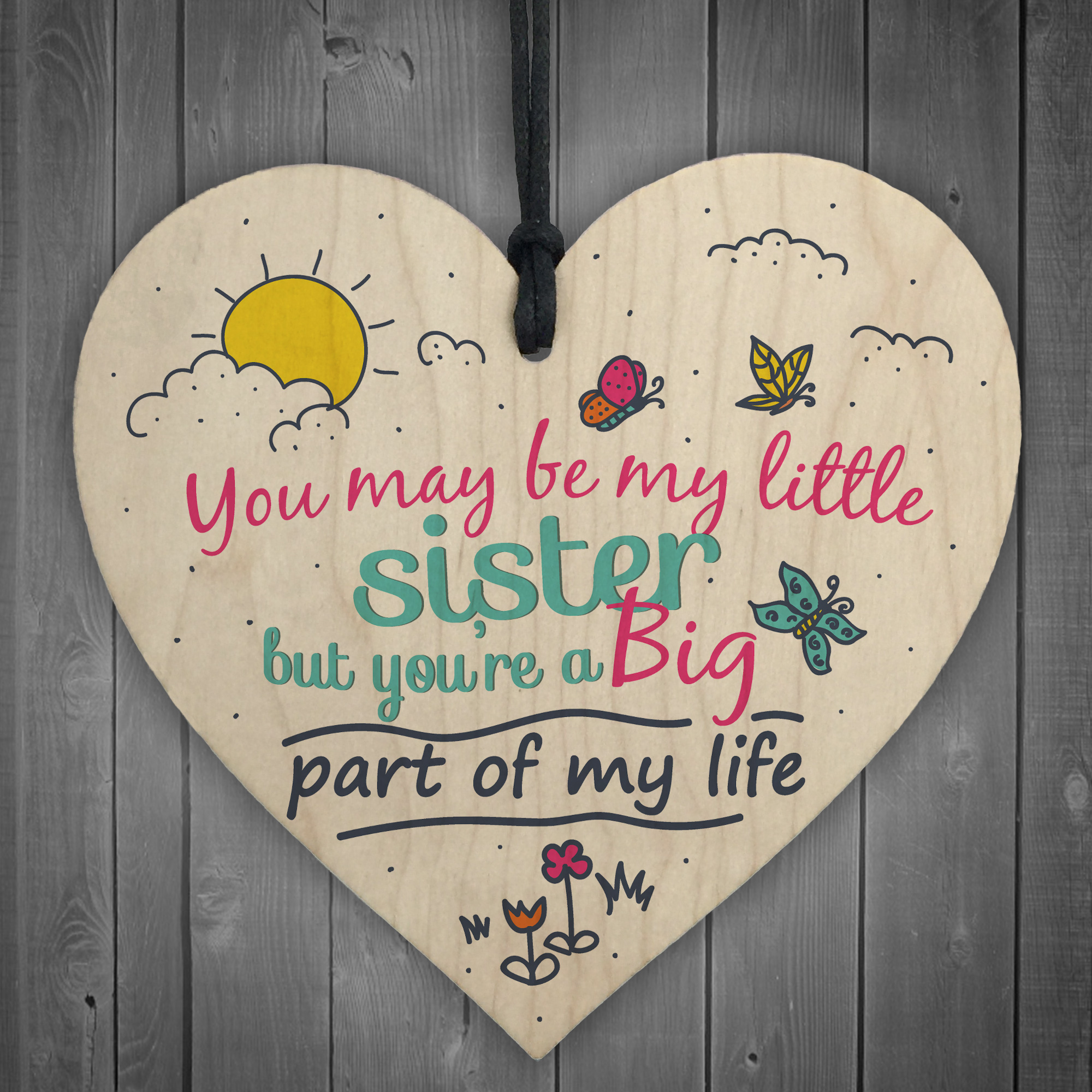 Little Sister Big Part Of My Life Heart Plaque Sister Love