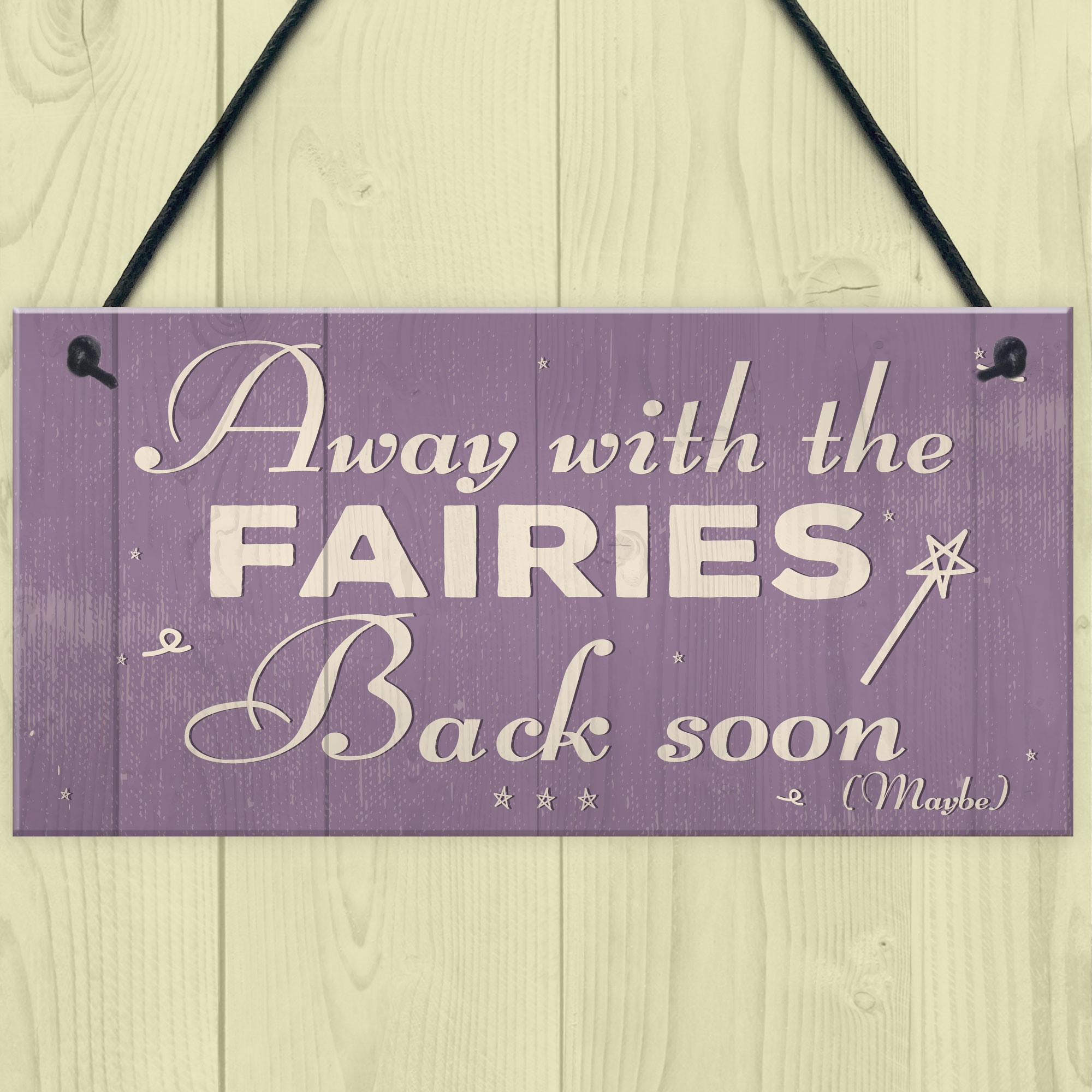 """Beautiful Hand Made Plaque /""""Away with the Fairies/"""" Fairy Gift Sign Present"""