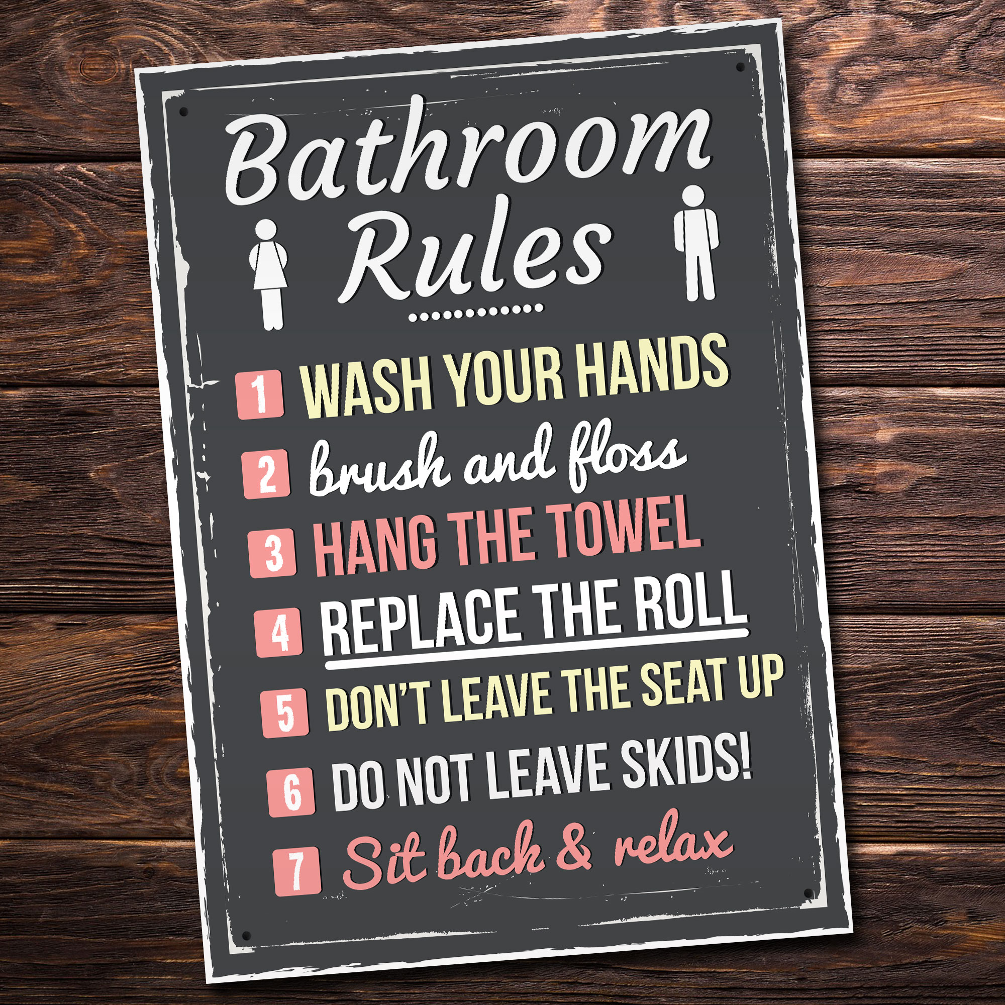 Bathroom Rules Funny Toilet Door Wall Sign Plaque