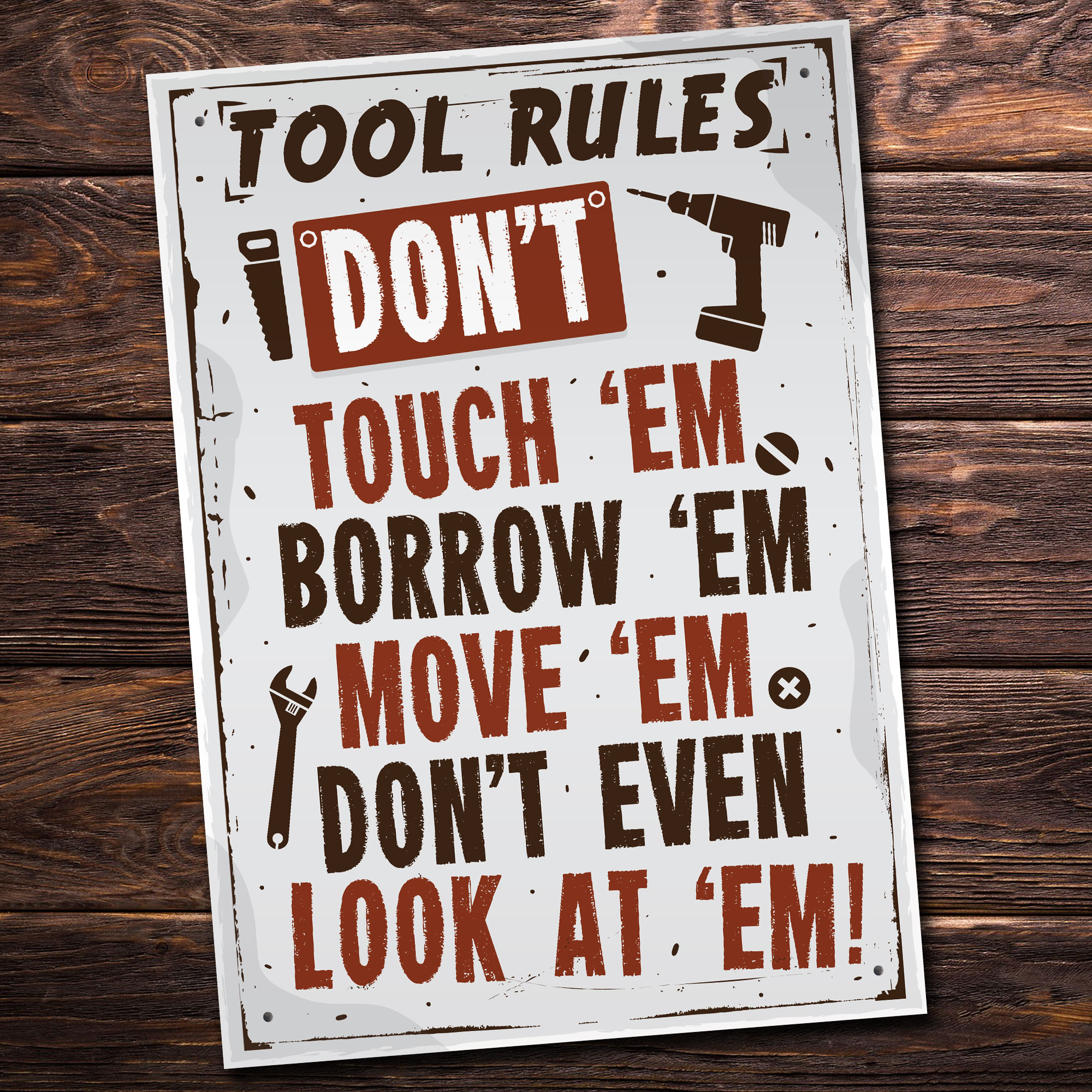Details About Tool Rules Hanging Sign Pub Garage Man Cave Workshop Dad Grandad Birthday Gifts