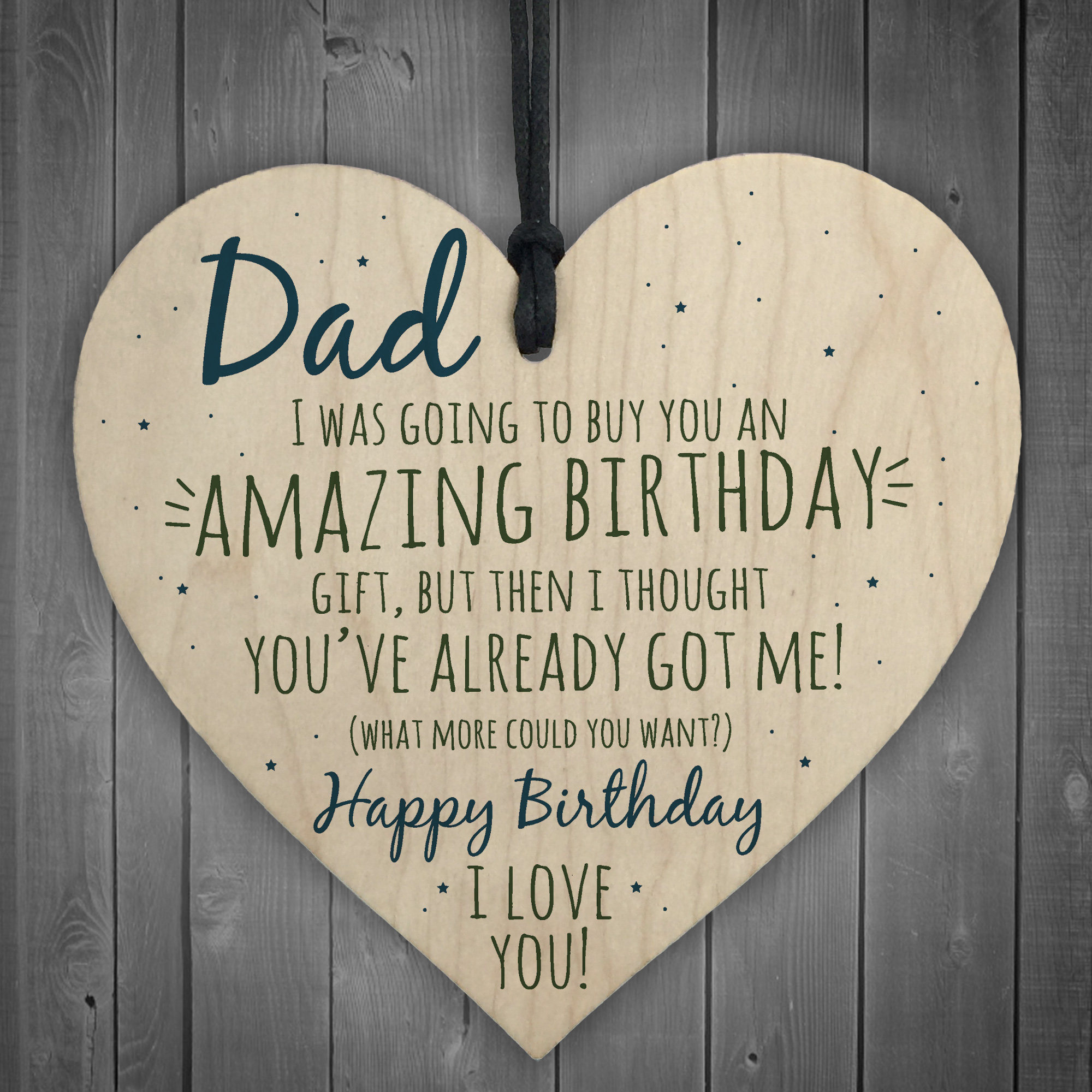 Details About Amazing Happy Birthday Wooden Heart Dad Daddy Funny Card Baby Son Daughter Gifts