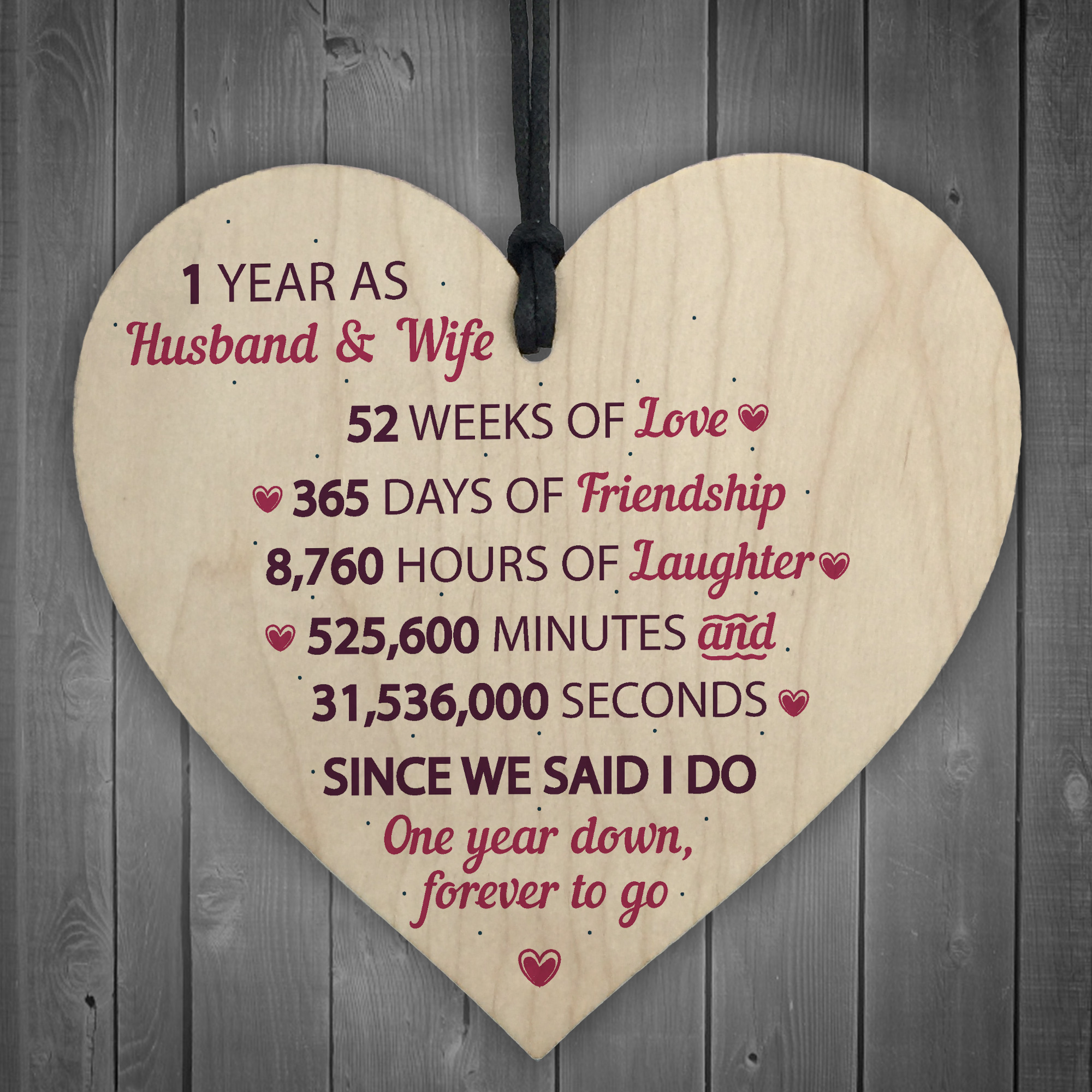 Wedding Anniversary Gifts For Her: 1st Wedding Anniversary Gift Wooden Heart First Wedding