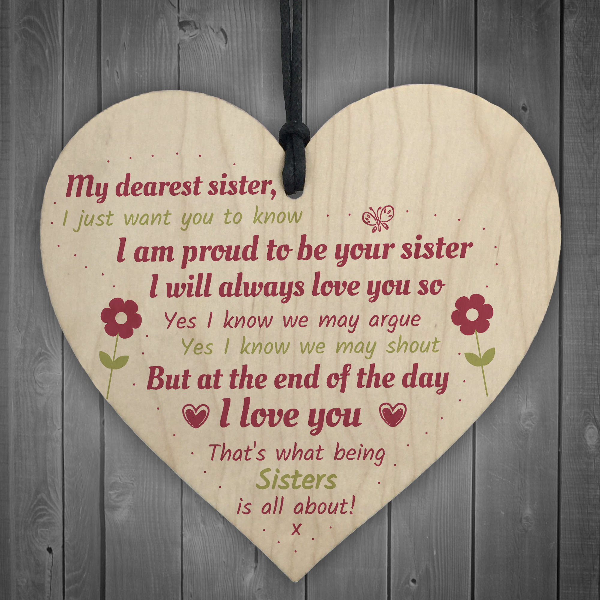 Sister Gift Birthday Gift For Sister Keepsake Poem Wooden Heart