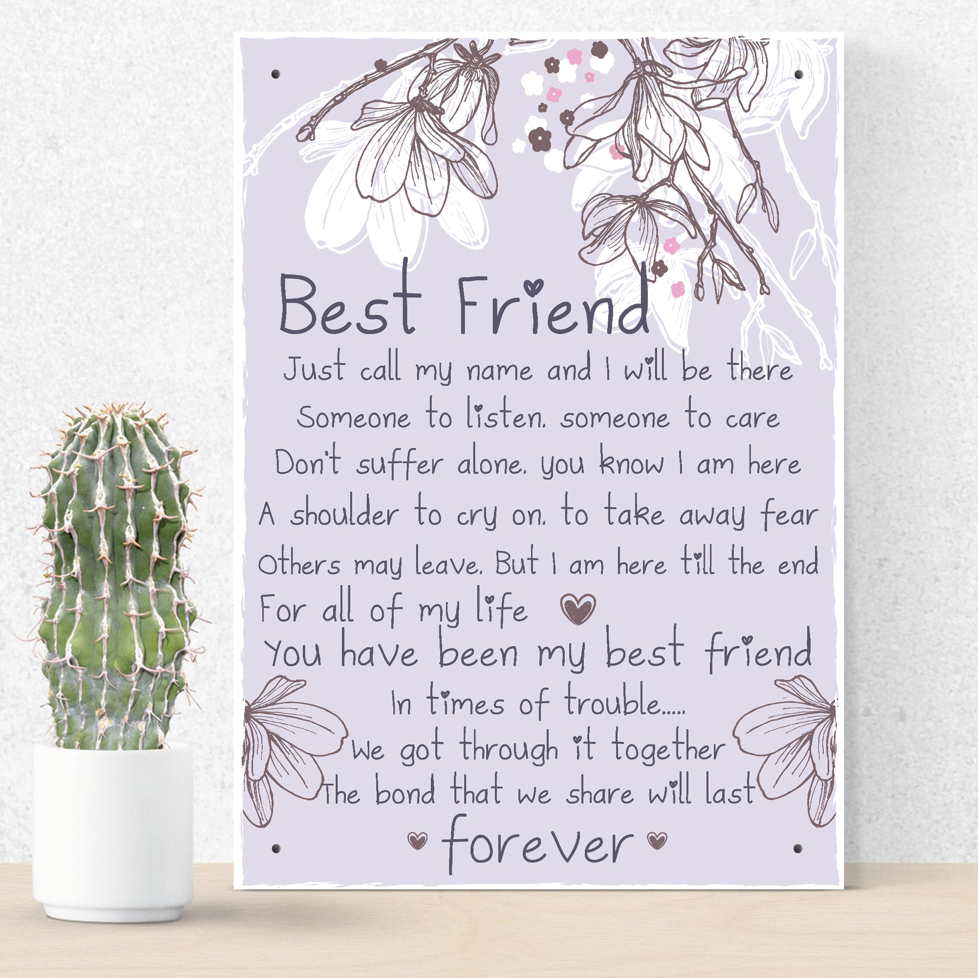 Details About Friendship Gift Best Friend Plaque Sign Thank You Birthday For Her Keepsake