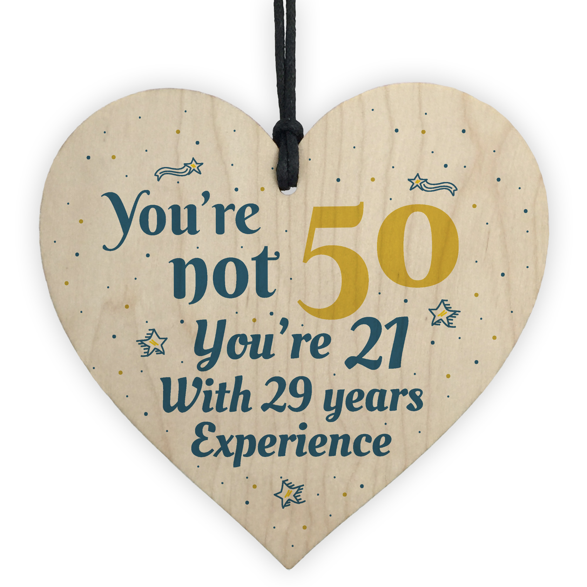 Details About 50th Birthday Gift Wooden Heart 50 For Dad Mum Sister Friend Funny Sign Keepsake