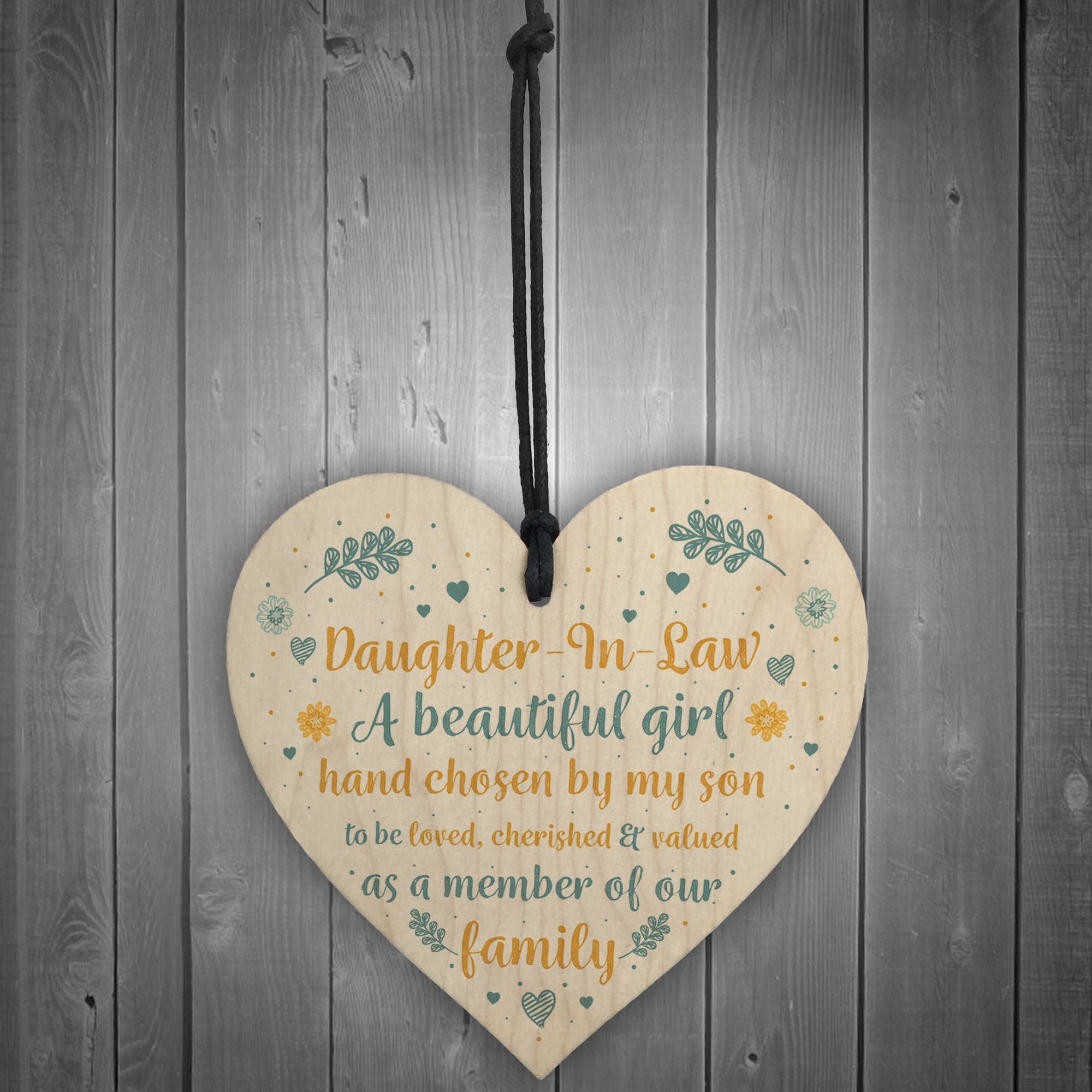 Details About Daughter In Law Gift Handmade Wooden Heart Plaque Birthday Friendship Sign