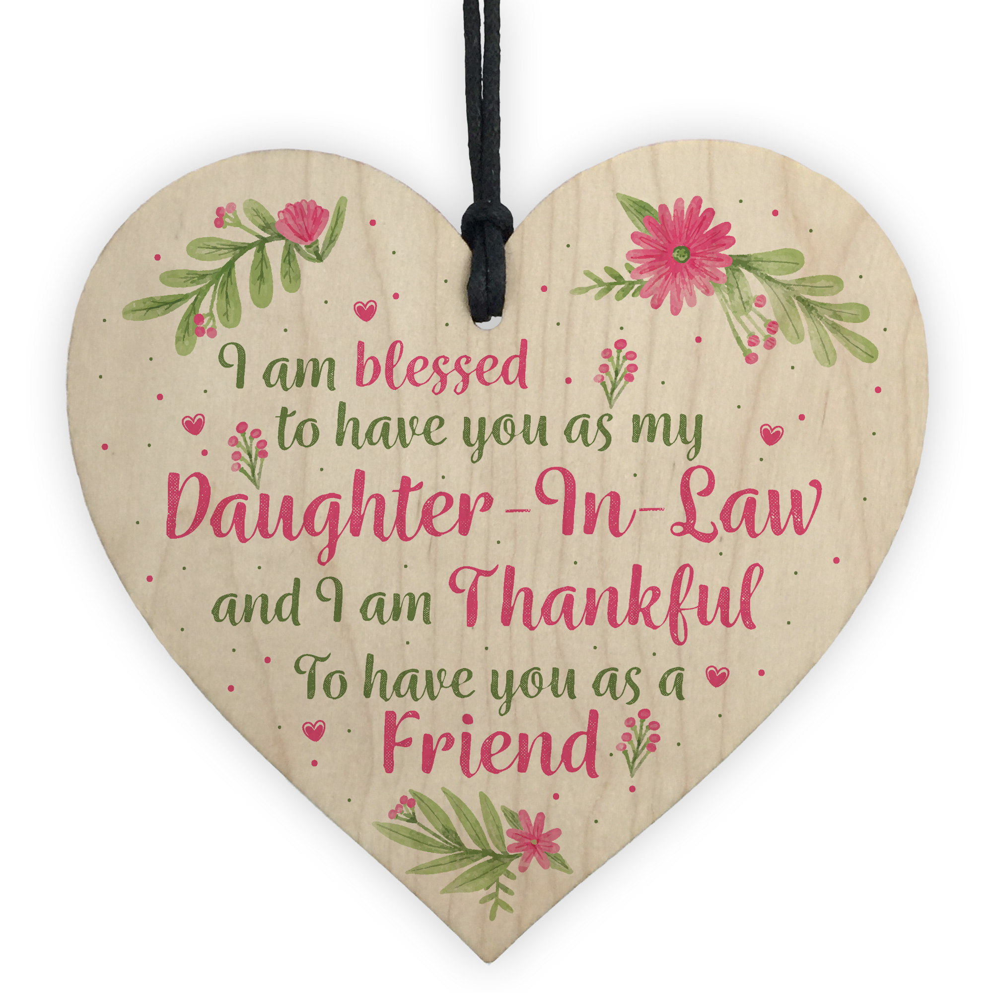 Details About Daughter In Law Plaques Wooden Heart Birthday Card Wedding Xmas GIFTS For Her