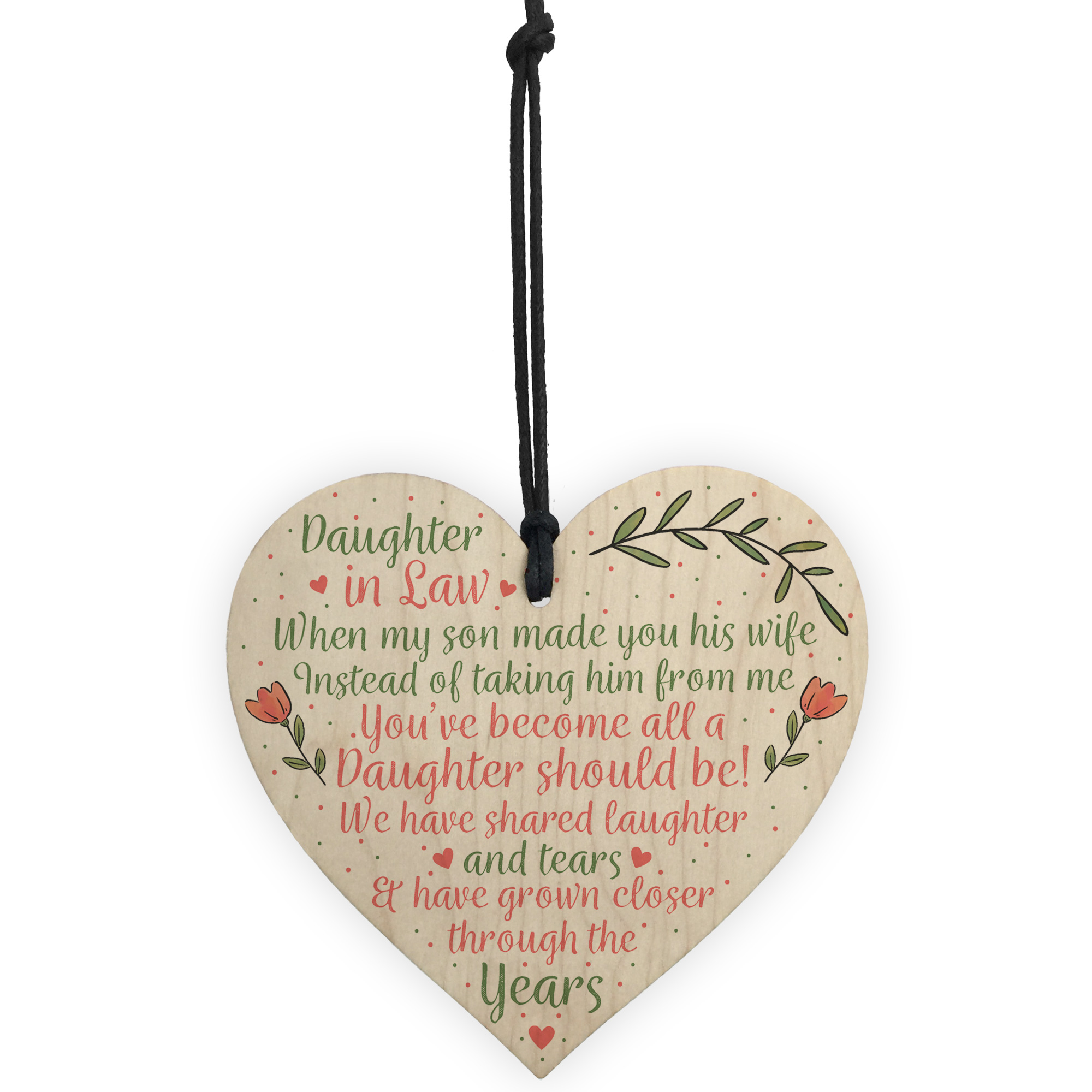Details About Daughter In Law Birthday Christmas GIFTS Wooden Heart Plaque Mum Son