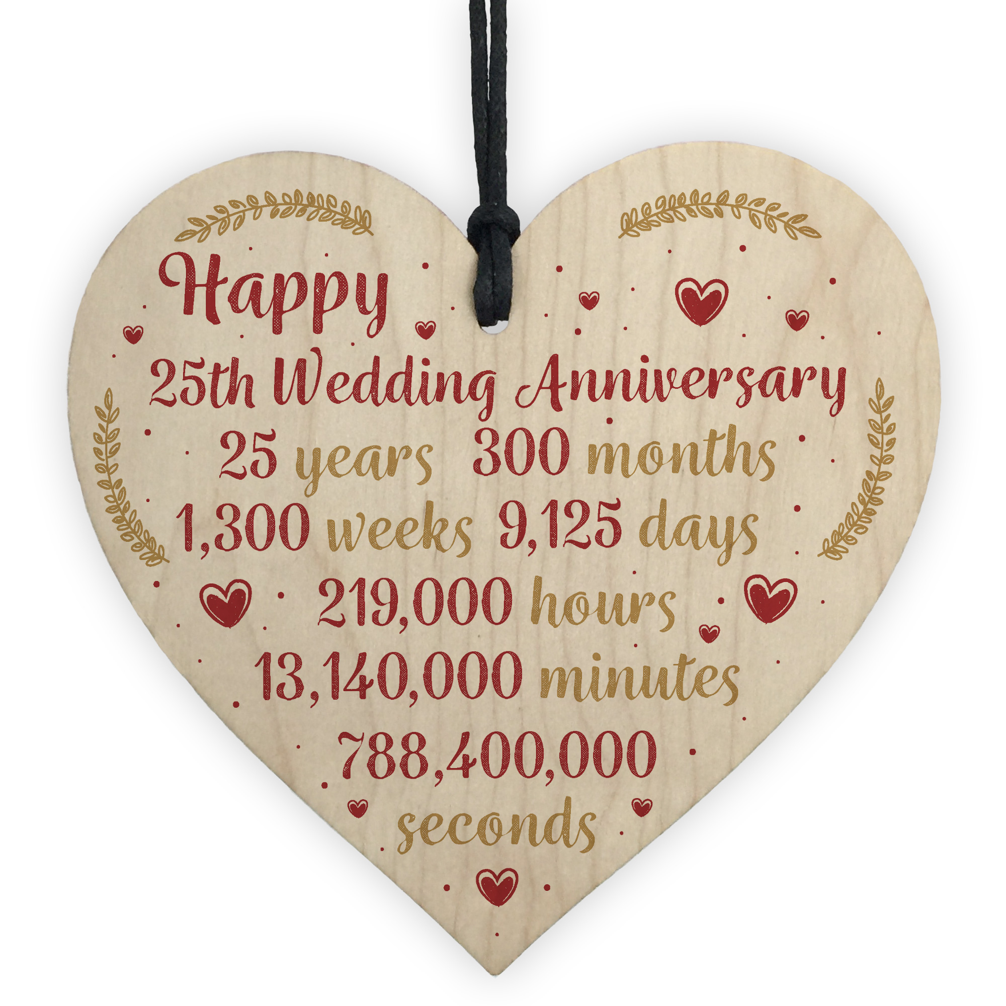 What Is The 25th Wedding Anniversary Gift: Happy 25th Wedding Anniversary Card Gift Heart Twenty Five