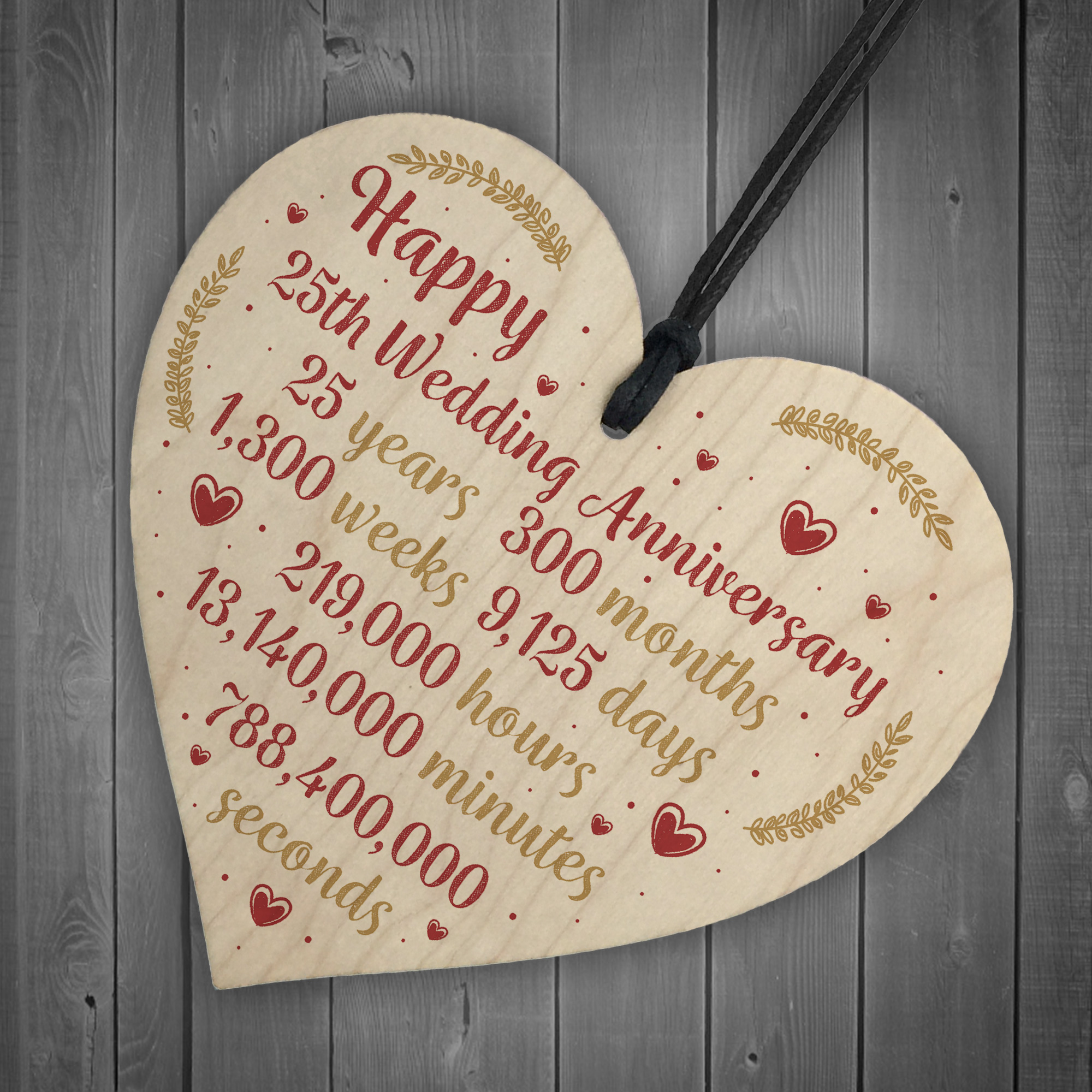 25th Wedding Anniversary Gifts For Wife: Happy 25th Wedding Anniversary Card Gift Heart Twenty Five
