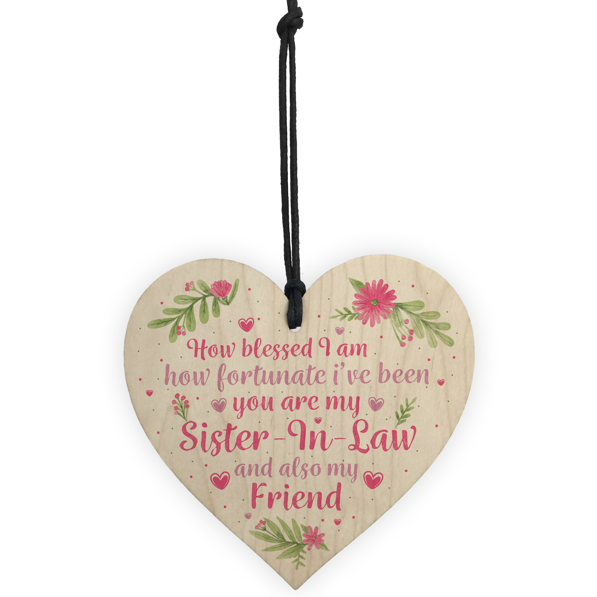 Details About Sister In Law Gift Wooden Heart Chic Plaque Keepsake Birthday Thank You