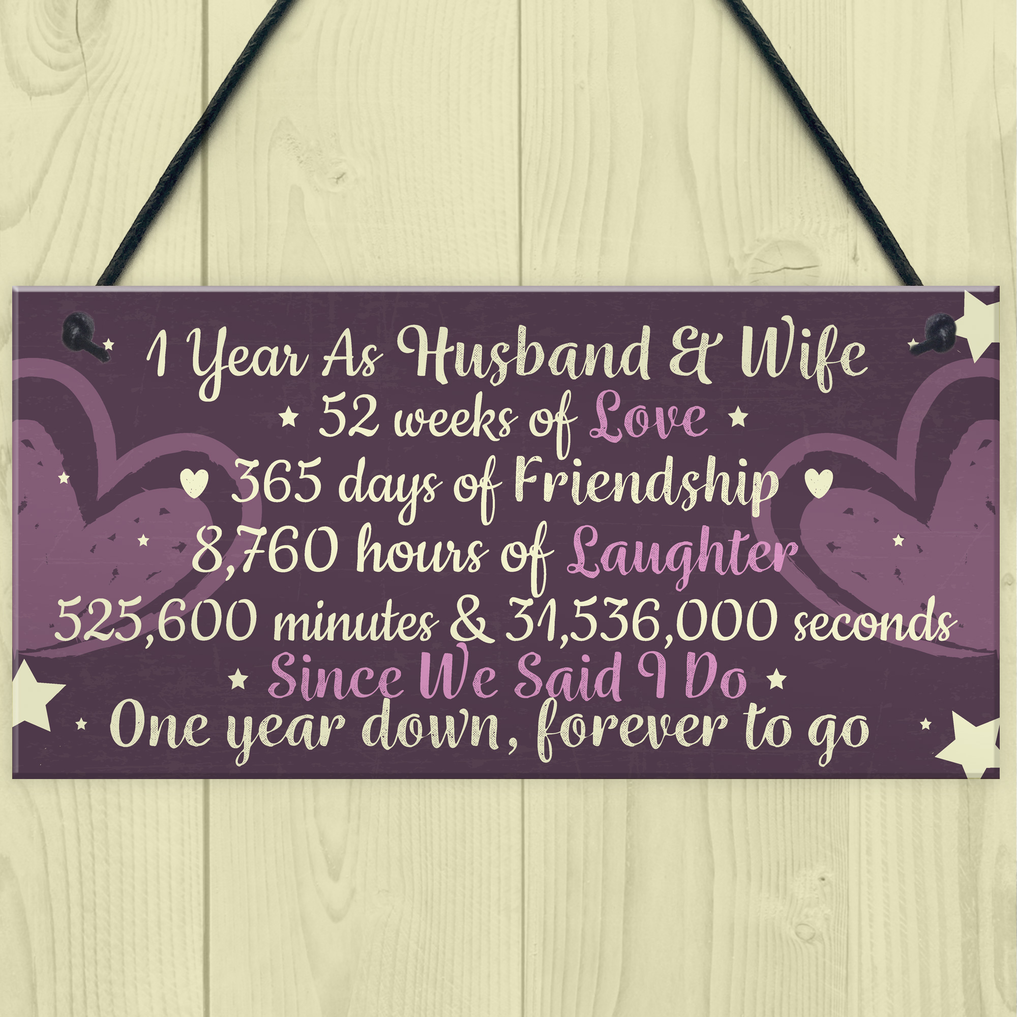 Gift For Husband On 1st Wedding Anniversary: 1st Wedding Anniversary Gift Plaque First Wedding
