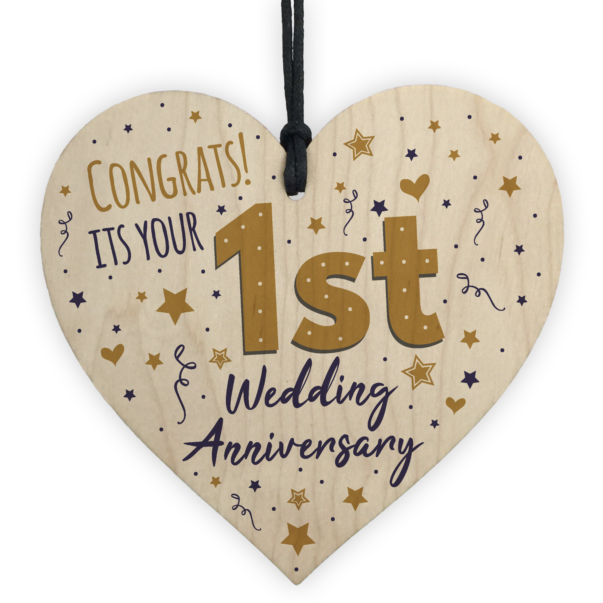 First Wedding Anniversary Gifts For Her: Congratulations First Wedding Anniversary Gift Heart 1st