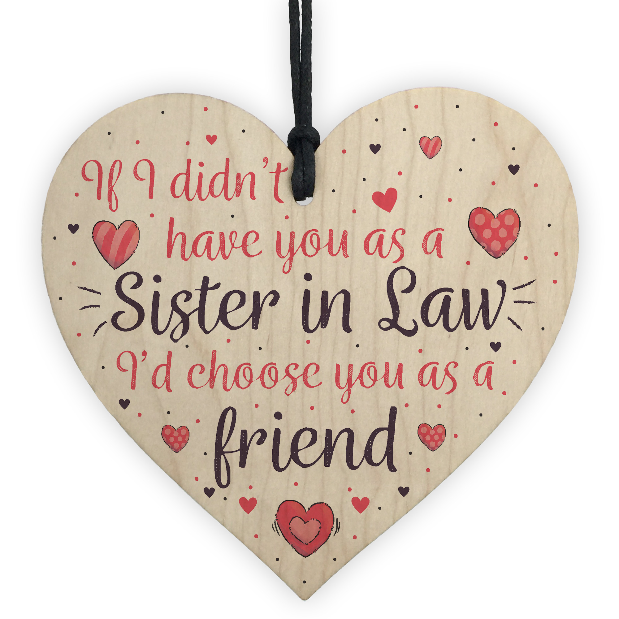 Details About Sister In Law Friendship Gift Handmade Wood Heart Sign Birthday For