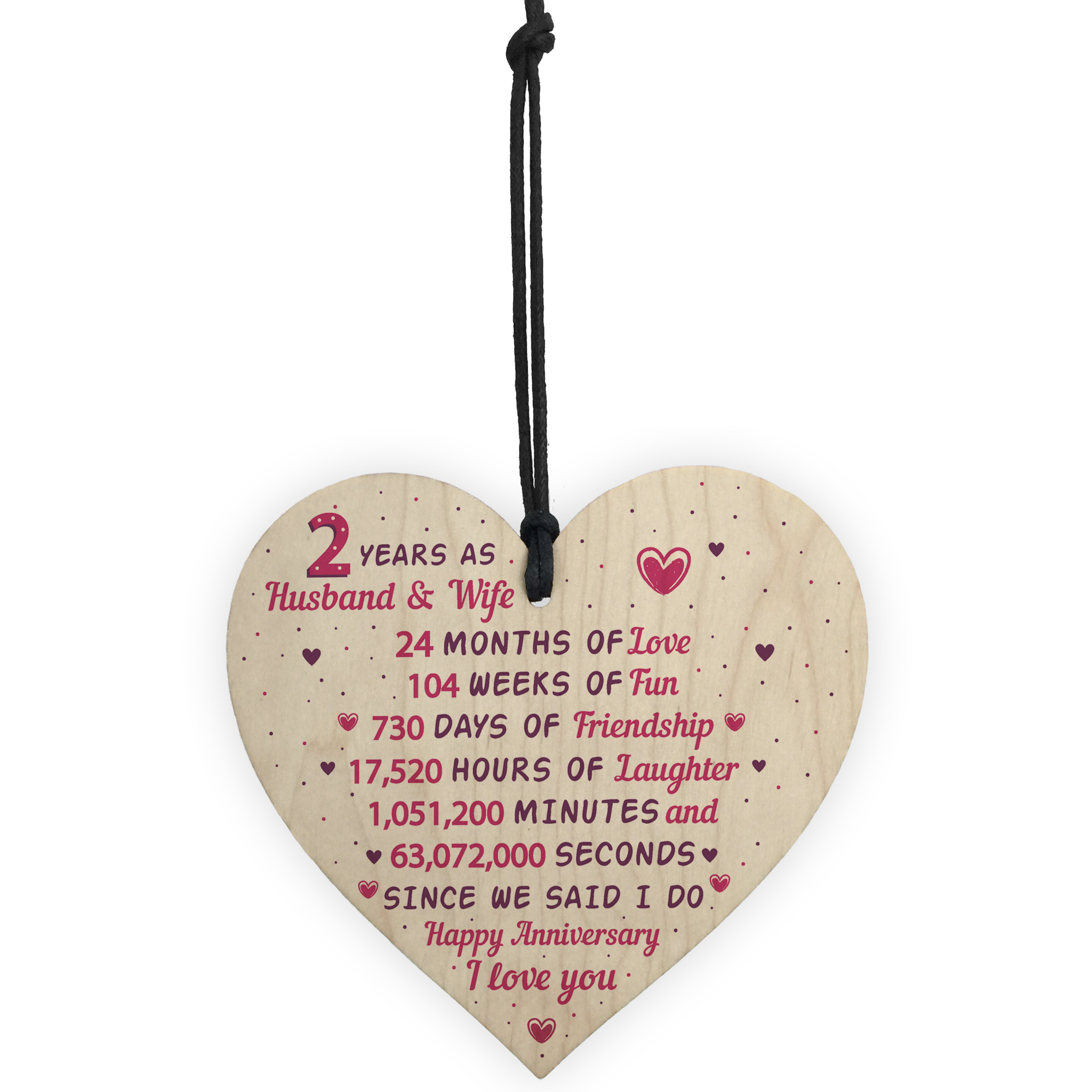 2nd Wedding Anniversary Gifts Uk: 2nd Wedding Anniversary Gift Wooden Heart Cotton Second