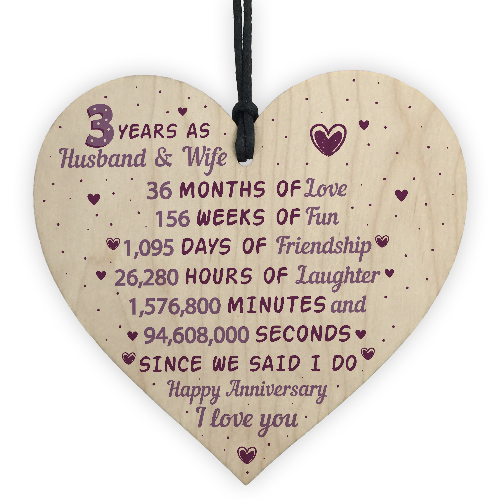 Gifts For 3rd Wedding Anniversary: 3rd Wedding Anniversary Gift Wooden Heart Leather Third