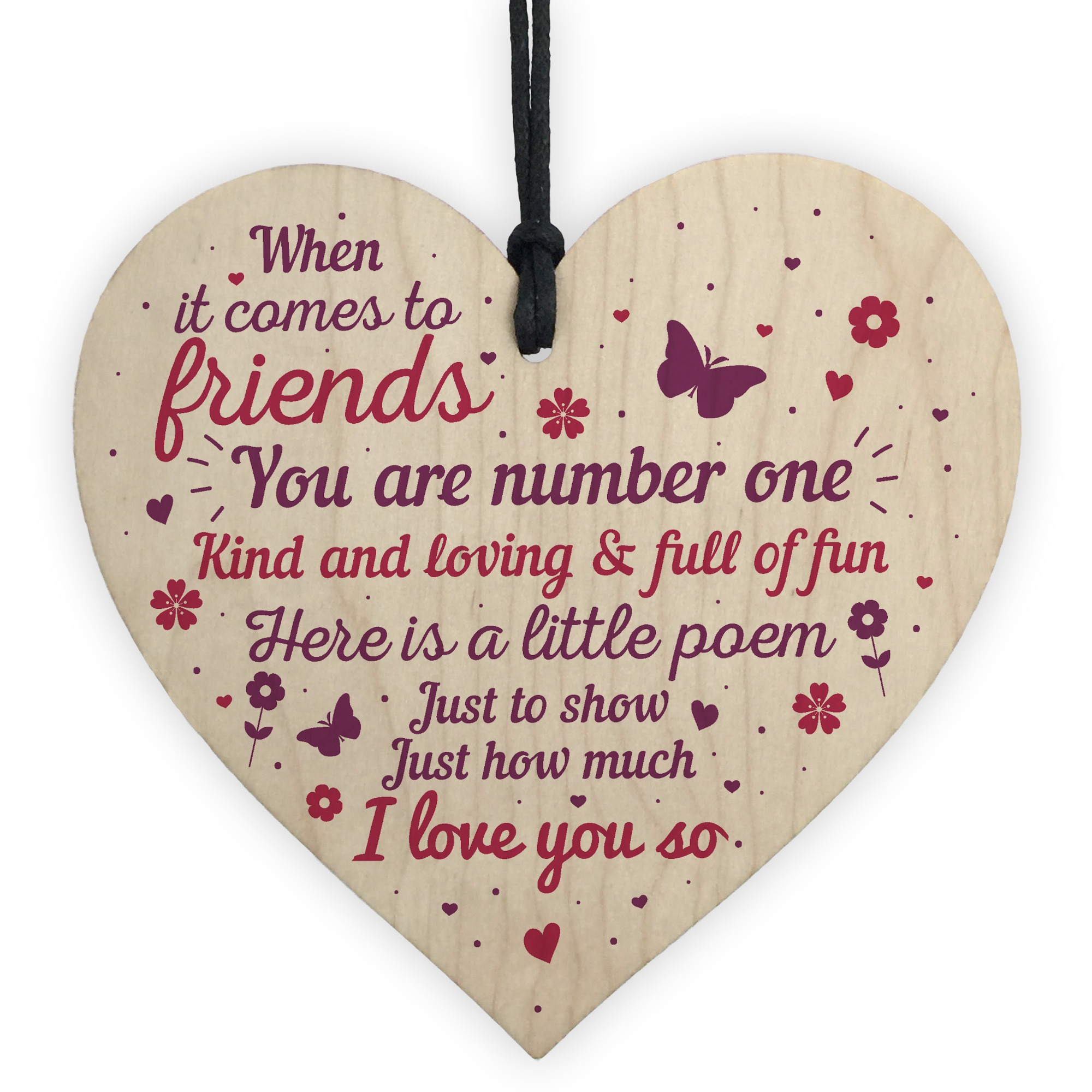 friendship quote wooden heart plaque sign birthday gift best