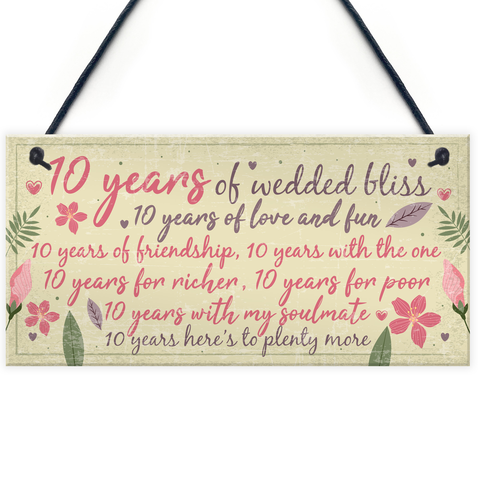 10th Wedding Anniversary Card Gift For Husband Wife Ten