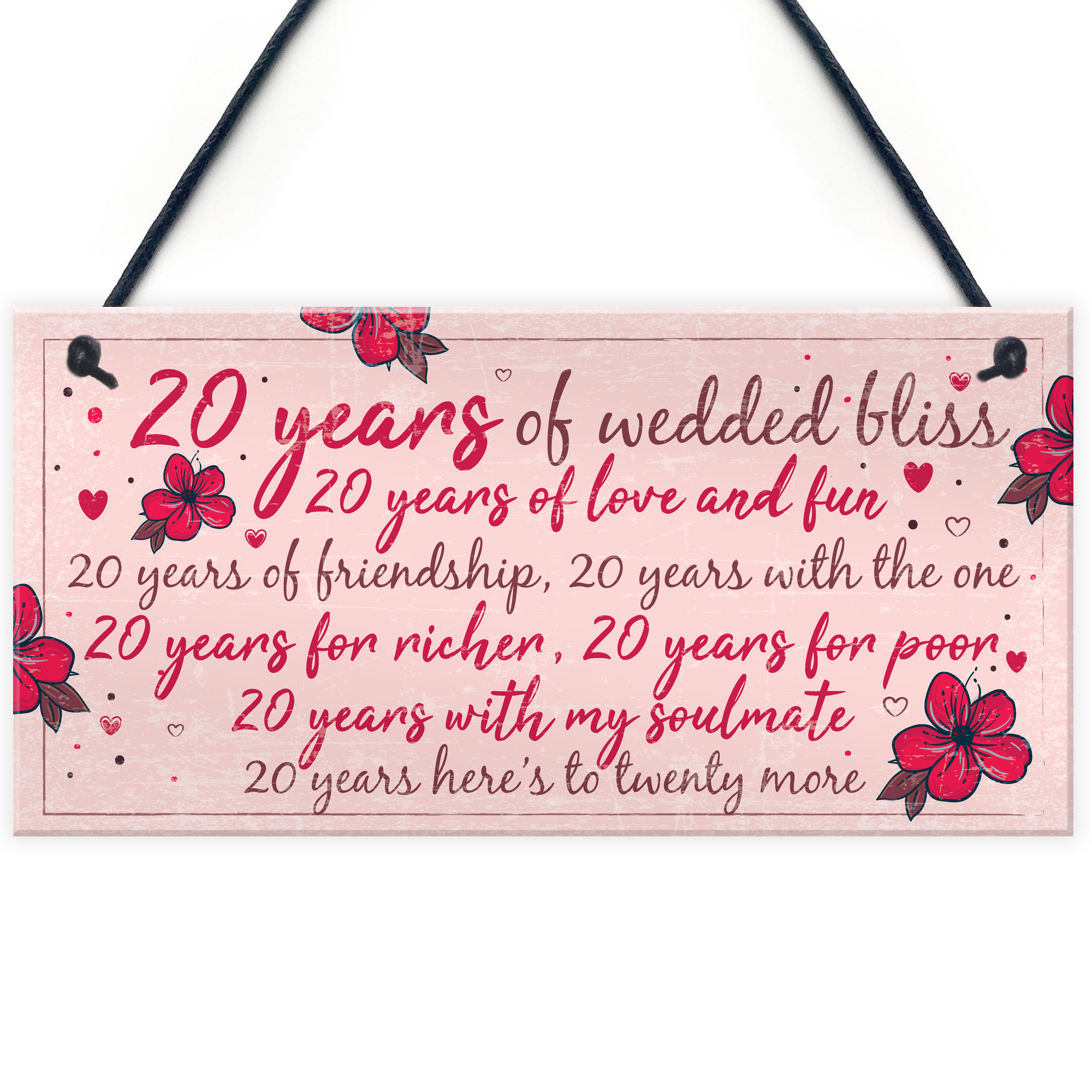 Gift For Wife On Wedding Anniversary: 20th Wedding Anniversary Card Gift For Husband Wife Twenty