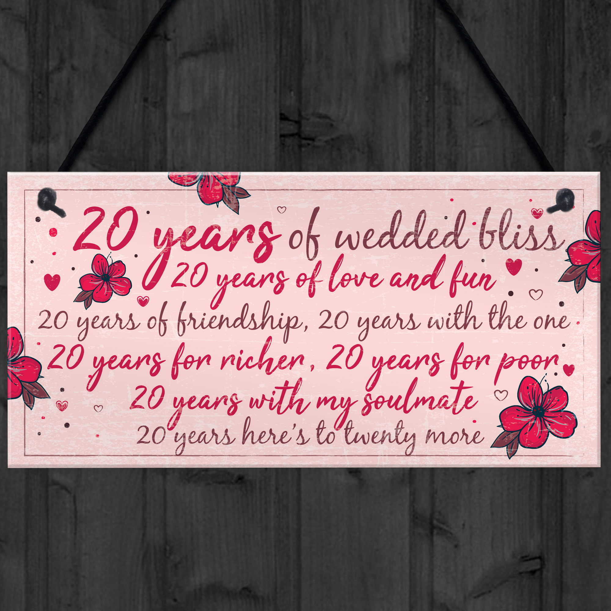 Wedding Anniversary Gifts For Wife: 20th Wedding Anniversary Card Gift For Husband Wife Twenty