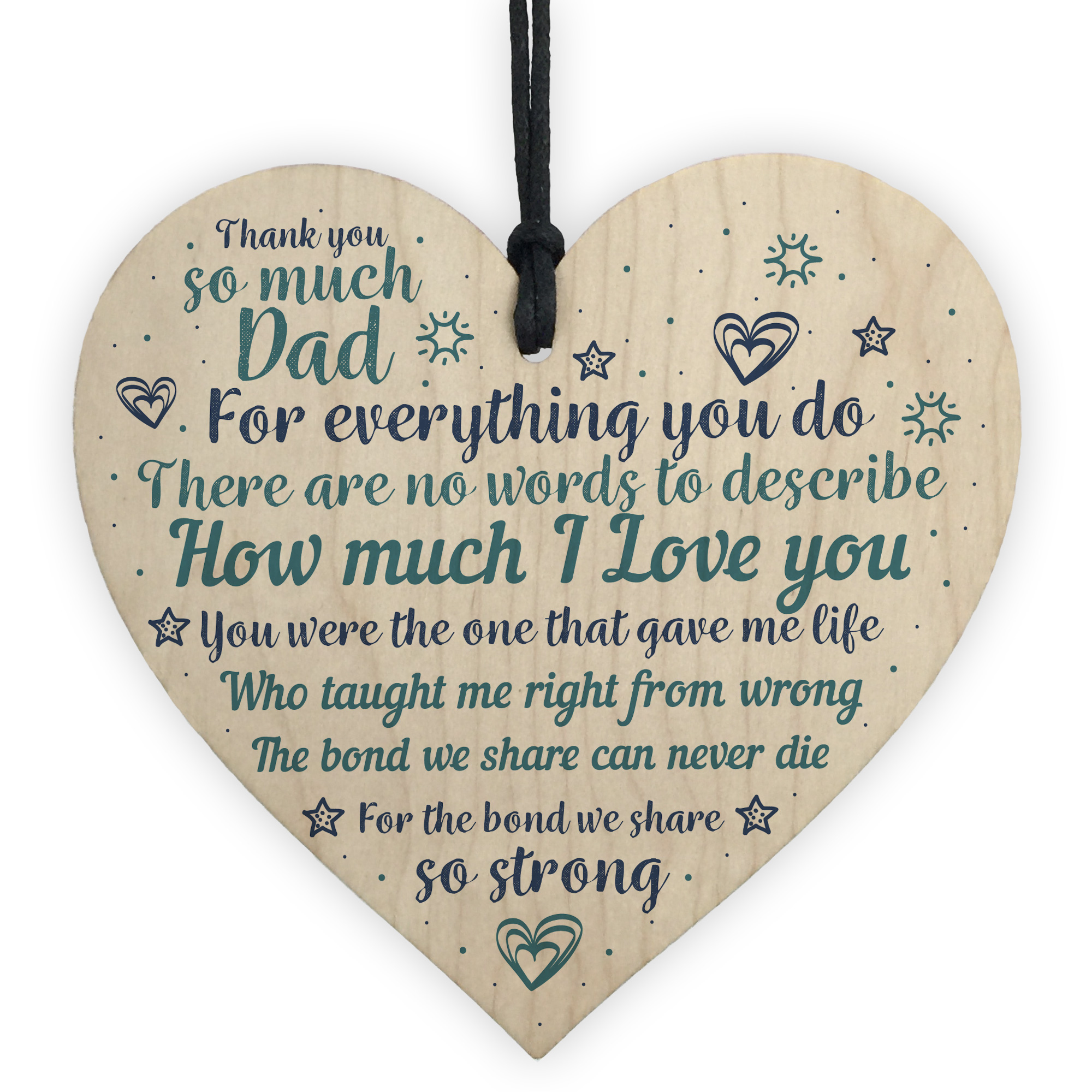 Details About Dad Gifts From Daughter Son Wooden Heart Christmas Birthday Gift For Daddy