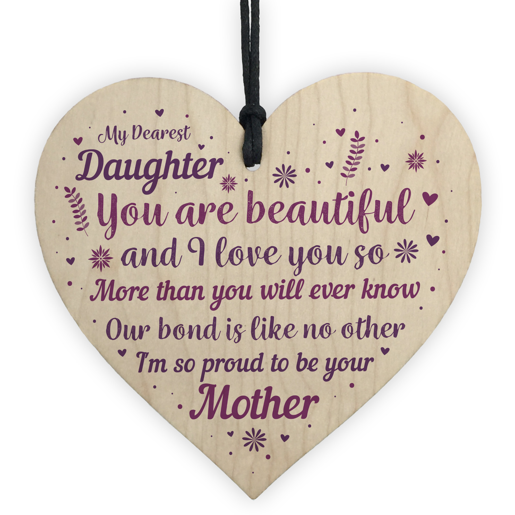 Details About Mother And Daughter Gifts Wood Heart Plaque Christmas Birthday Gift For