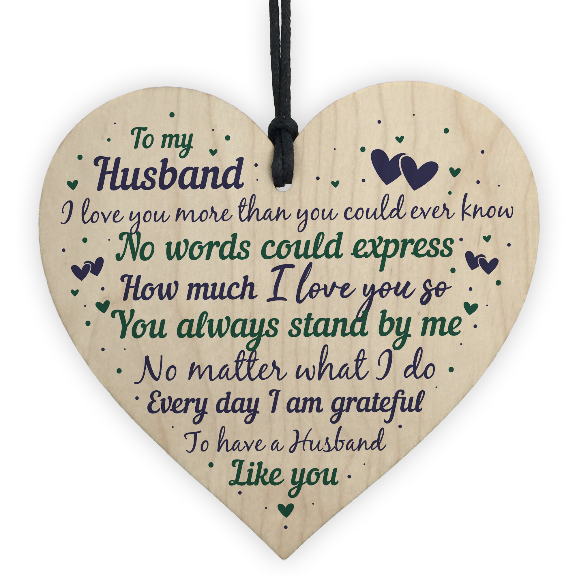 Details about Husband Anniversary Gift From Wife Handmade Wooden Heart Poem  Christmas Gifts