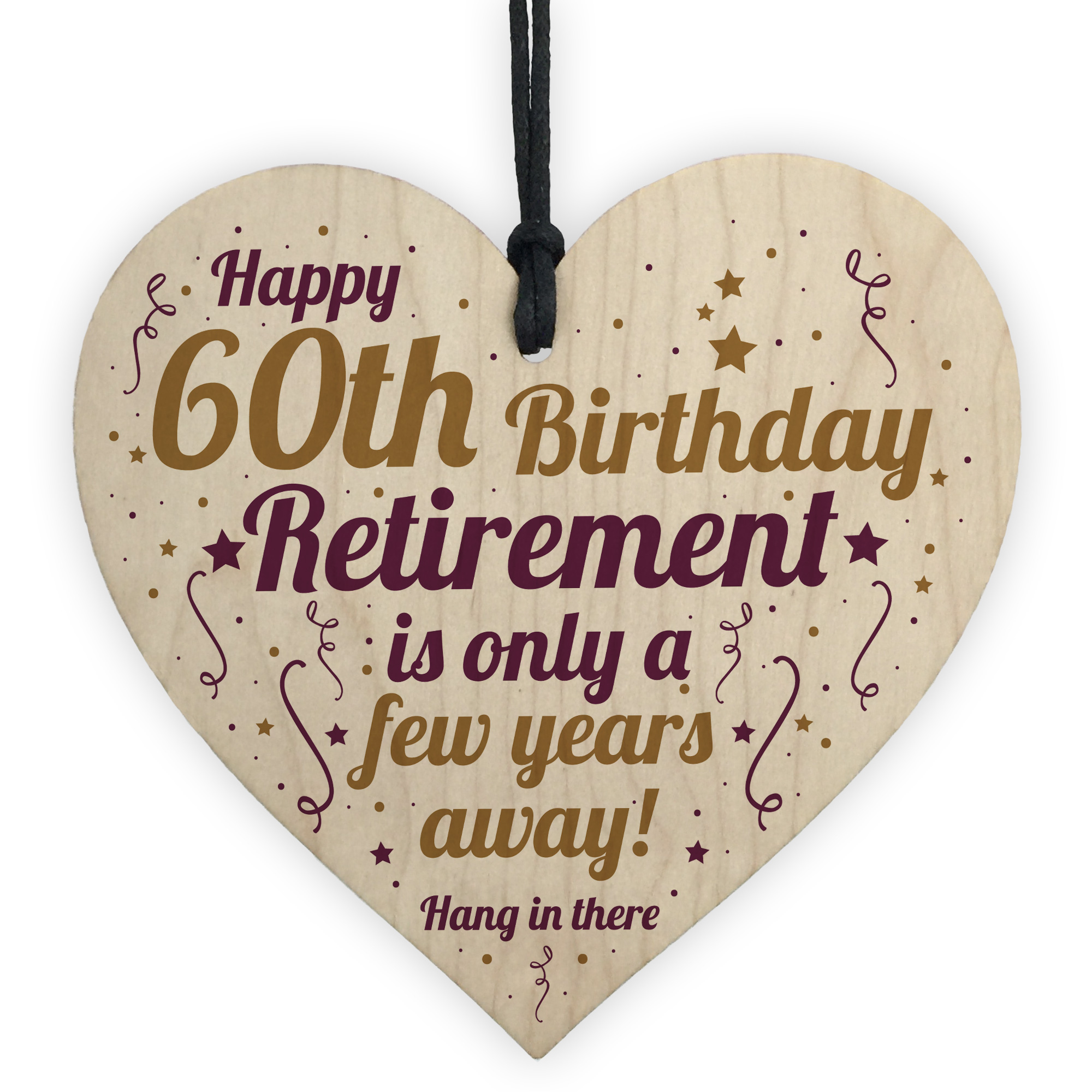 Details About Funny 60th Birthday Card Wooden Heart Gifts For Women Men Keepsake