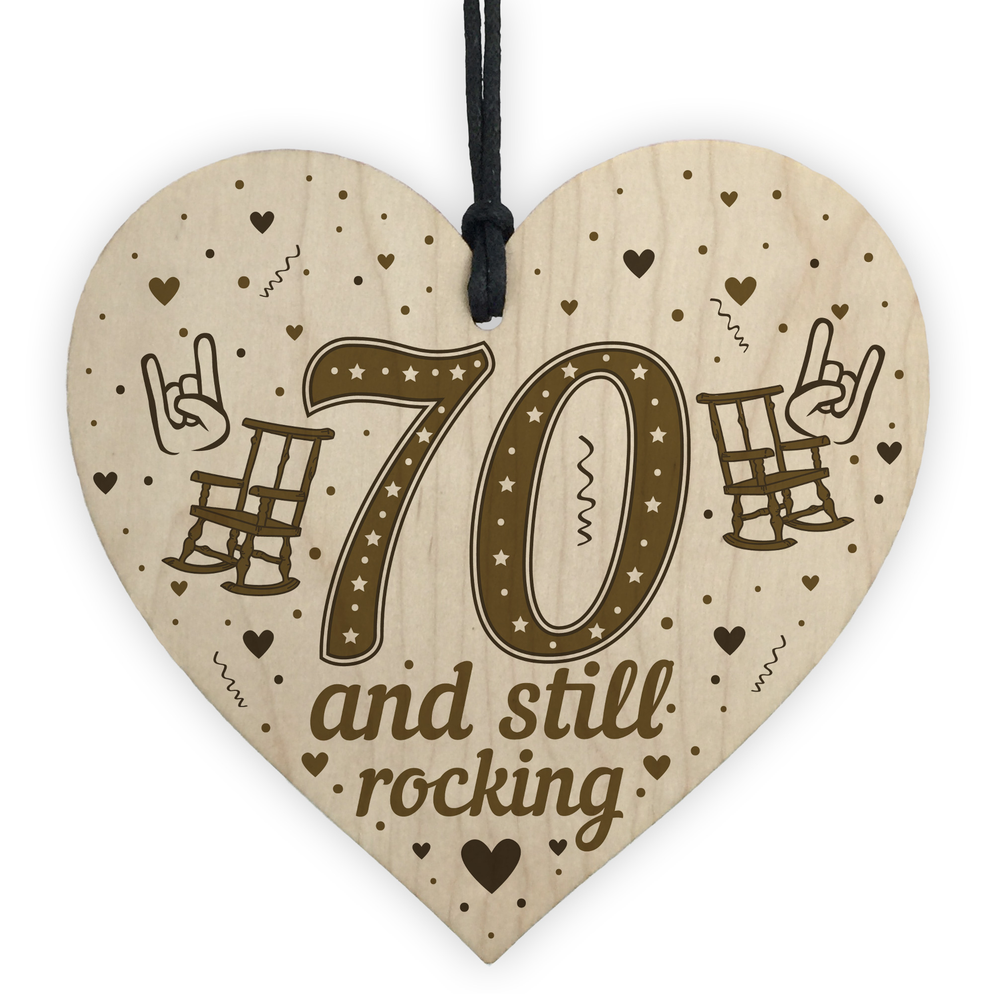 Details About 70th Birthday Gifts For Mum Dad Nan Grandad Wood Heart Funny Card