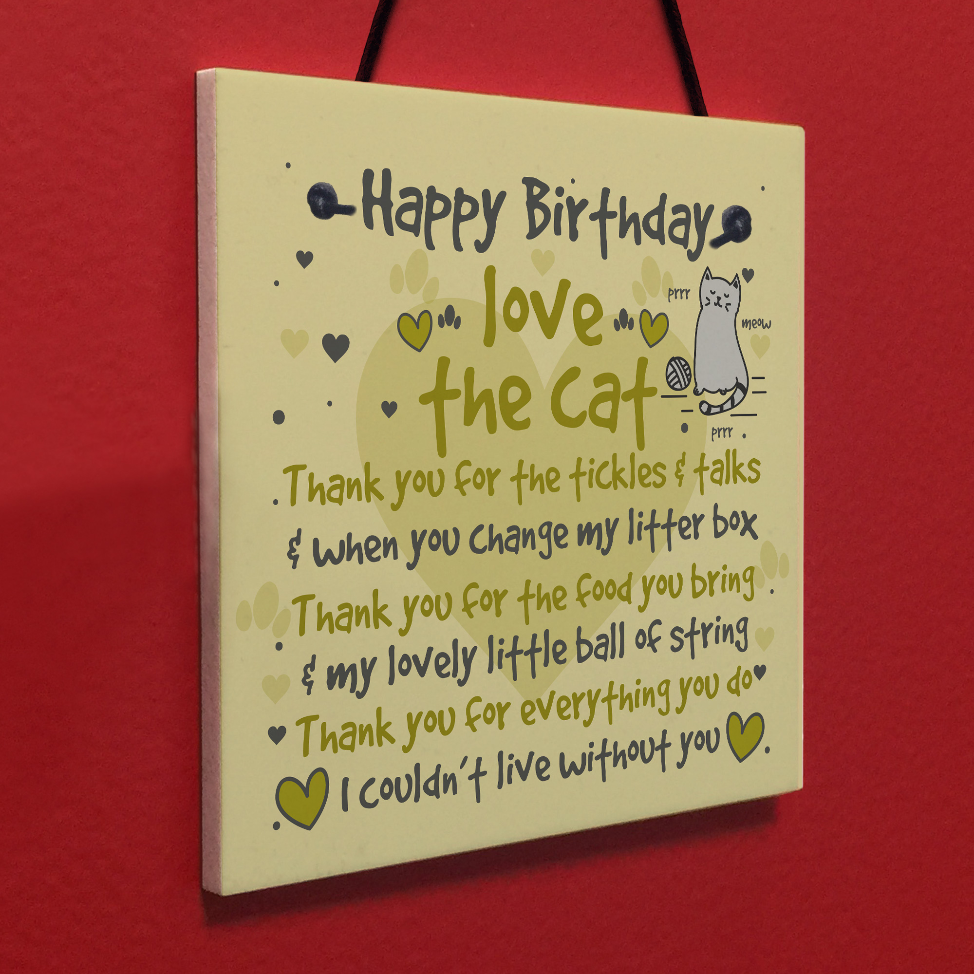 Details About Funny Rude Birthday Card Mum Dad Wife Friend Daughter Sister CAT PRESENT Plaque