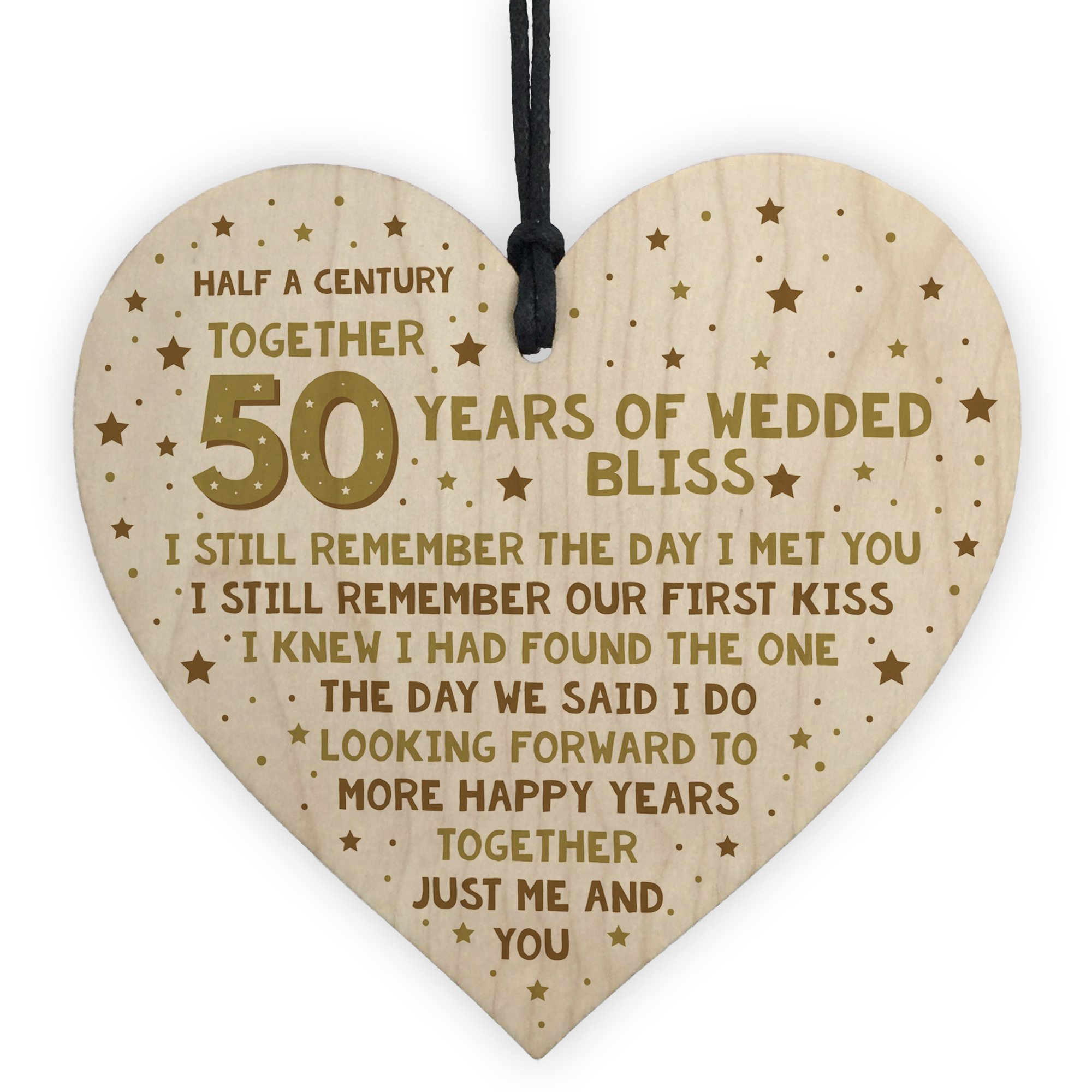 Wedding Anniversary Gifts For Wife: 50th Wedding Anniversary Card Wood Heart Gift For Husband