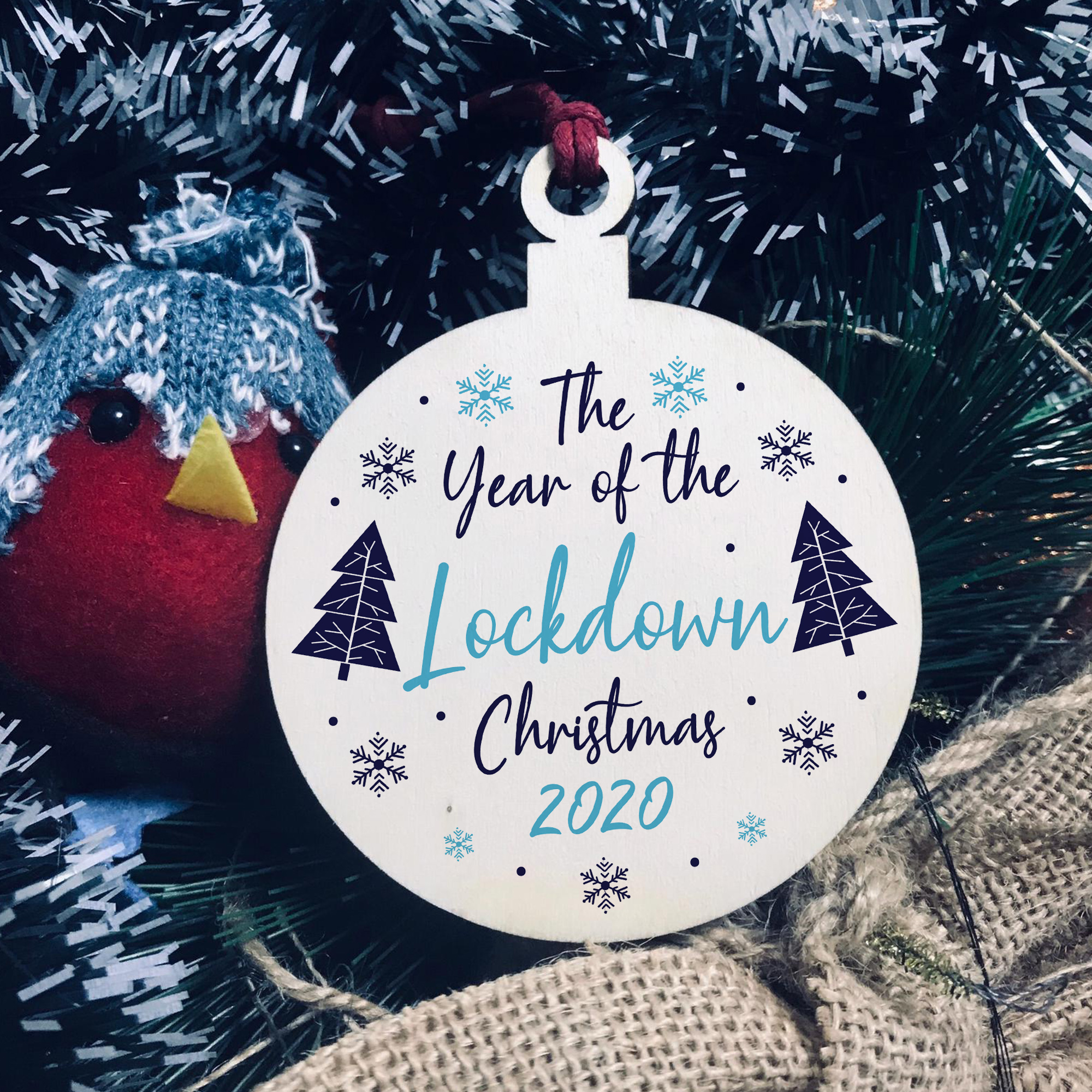 Christmas Year Of The Lockdown Wooden Heart Tree Decoration Hanging Bauble UK