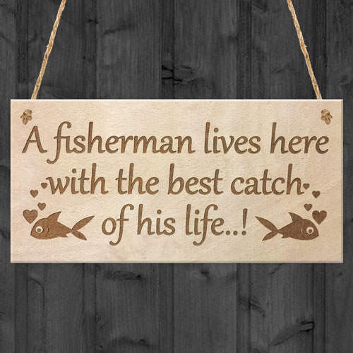 Funny Fishing Fisherman Wood Sign Husband Grandad Dad Son Birthday Man Wife Gift Ebay