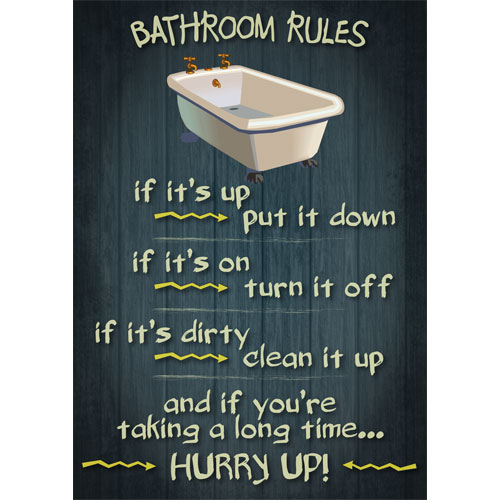 Bathroom Rules Retro Vintage Funny Poster Message Wooden Appearance Sign Plaque 5060293721520